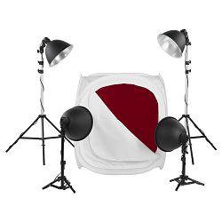 Quadralite LED LH-40 komplet foto šator 75x75cm + 4x E27 25W žarulje + 4x stalak + 4x pozadine