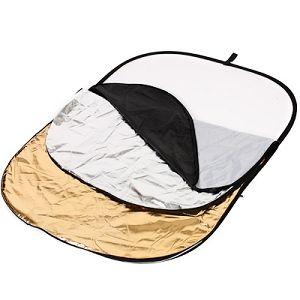 Quantuum dosvjetljivač 5u1 125x95cm bijeli srebreni zlatni crni transparentni 5-in-1 Collapsible Reflector Disc