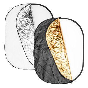 Quadralite dosvjetljivač 5u1 125x95cm bijeli srebreni zlatni crni transparentni 5-in-1 Collapsible Reflector Disc