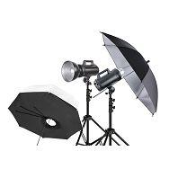 Quadralite Move 200 KIT 1 komplet 2x 200WS studijska bljeskalica + 2x 200cm stalak + 1x brolly box + 1x foto kišobran srebreni reflekturajući