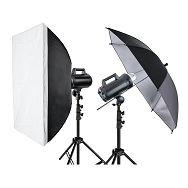 Quadralite Move 300 KIT 2 komplet 2x 300WS studijska bljeskalica + 2x 200cm stalak + 1x softbox 60x90cm + 1x foto kišobran srebreni reflekturajući