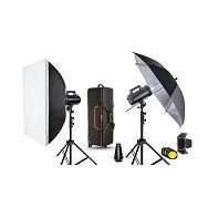 Quadralite Move 400 KIT 3 komplet 2x 400Ws studijska bljeskalica + 2x 200cm stalak + 1x softbox 60x90cm + 1x foto kišobran srebreni + 1x snoot + 1x barndoor + 1x kufer Move