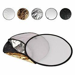 Quenox dosvjetljivač 5u1 80cm bijeli srebreni zlatni crni transparentni 5-in-1 Collapsible Reflector Disc