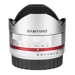 Samyang 8mm f2.8 UMC Fish-eye Samsung NX srebreni F/2.8 F/2,8