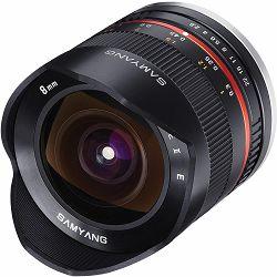 Samyang 8mm f/2.8 UMC Fisheye CS Silver objektiv za Sony E-Mount Fish-eye prime lens F2.8 F/2,8 srebreni