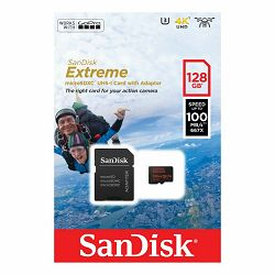 SanDisk microSDXC 128GB 100MB/s + SD Adapter for Action Sports Cameras - works with GoPro Messaging Extreme A1 C10 V30 UHS-I U3 memorijska kartica (SDSQXAF-128G-GN6AA)