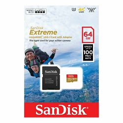 SanDisk microSDXC 64GB 100MB/s + SD Adapter for Action Sports Cameras - works with GoPro Messaging Extreme A1 C10 V30 UHS-I U3 memorijska kartica (SDSQXAF-064G-GN6AA)