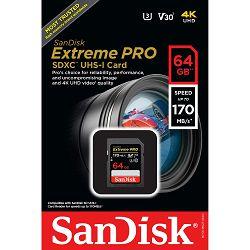 SanDisk SD 64GB 170MB/s Extreme Pro V30 UHS-I U3 SDXC Card memorijska kartica (SDSDXXY-064G-GN4IN)