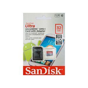 SanDisk Ultra microSDHC 32GB 80MB/s class 10 Flash Card with adapter SDSQUNC-032G-GN6MA Memorijska kartica