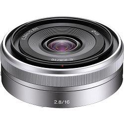 Sony E 16mm f/2.8 Silver Srebreni širokokutni objektiv za E-Mount 16 F2.8 2.8 f/2,8 Ultra-thin Wide angle Lens SEL-16F28 SEL16F28 (SEL16F28.AE)