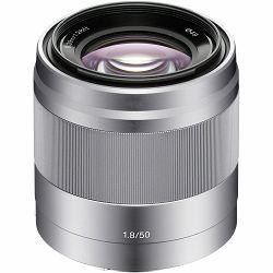 Sony E 50mm f/1.8 OSS Silver srebreni portretni standardni objektiv za E-mount 50 F1.8 1.8 f/1,8 SEL-50F18 SEL50F18 (SEL50F18.AE)
