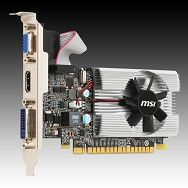 Video Card MSI GeForce 210 DDR3  1GB/64bit, 589MHz/1000MHz, PCI-E 2.0 x16, HDTV+HDCP, HDMI, DVI, VGA, VGA Cooler, Retail