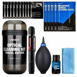 VSGO DKL-15G Gray Optical cleaning KIT travel edition (1x Mini Air blower + 1x Lens Pen + 5x 15x15cm mikofibra + 1x Cleaning Cloth + 1x 30ml tekućina + 10x Wet wipes)