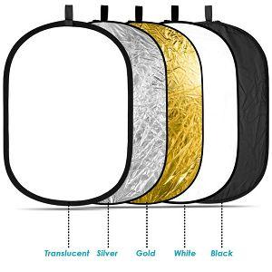 Weifeng dosvjetljivač 5u1 100x160cm reflektor crna, bijela, zlatna, srebrena, transparentni 5-in-1 Collapsible Reflector Disc