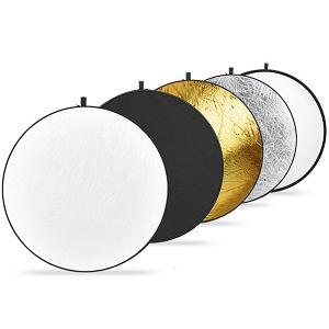 Weifeng dosvjetljivač 5u1 80cm zlatni srebreni crni bijeli transparentni disk reflektirajući 5-in-1 Collapsible Circular Re