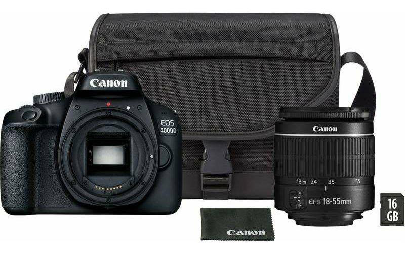 Canon EOS 4000D + 18-55 DC III + SB130 torba + 16GB kartica DSLR Digitalni fotoaparat s objektivom EF-S 18-55mm f/3.5-5.6 (3011C019AA)