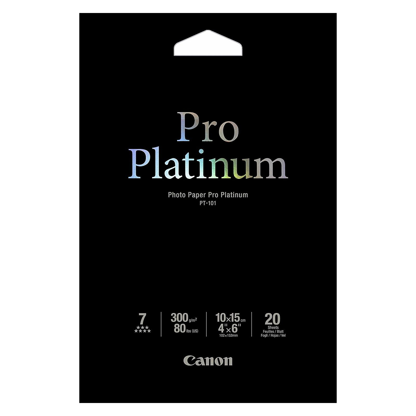 Canon Photo Paper Pro Platinum PT-101 10x15cm 20 listova foto papir za ispis fotografije Smooth gloss 300gsm ISO98 0.3mm 4x6