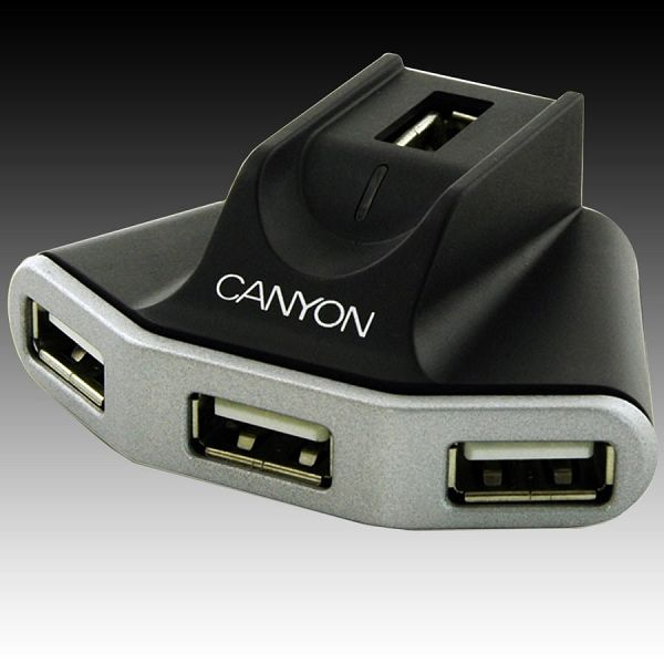 CANYON CNR-USBHUB06N 4 Port USB2.0 HUB with 1.5 meter extension USB cable and 5V 2.1A AC adapter