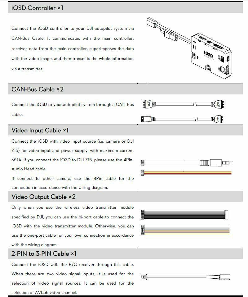 dji dji a2 + iosd mark ii + 2 4 g bt data link combo dji iosd wiring dji  naza lite wiring diagram