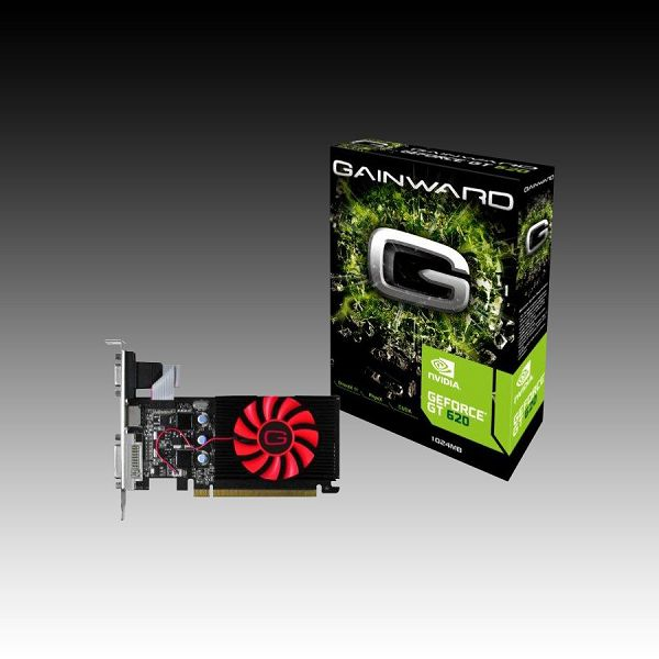GAINWARD Video Card GeForce GT 620 DDR3 1GB/64bit, 700MHz/535MHz, PCI-E 2.0 x16,HDMI,DVI, Dual Slot Fan Cooler, Retail