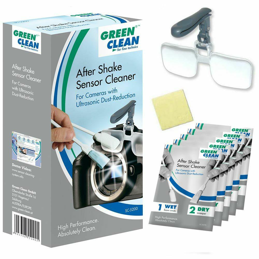 Green Clean After Shake Sensor Cleaner Kit 5x Wet & Dry swabovi za čišćenje senzora + 1x Clip & Flip + 1x LCD Wipe 8x8cm za fotoaparate s ultrazvučnim vibracijama (SC-5200)