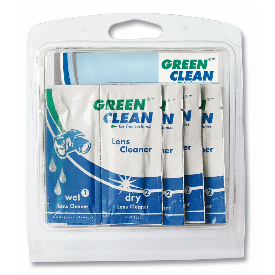 Green Clean Lens Cleaner - Wet & Dry LC-7010-10 Sachet 10 pc. hang box