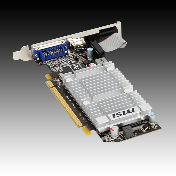 MSI Video Card Radeon HD 5450 DDR3 1024MB/64bit, 650MHz/1066MHz, PCI-E 2.1 x16,HDMI,DVI, VGA Heatsink, Low-profile, Retail