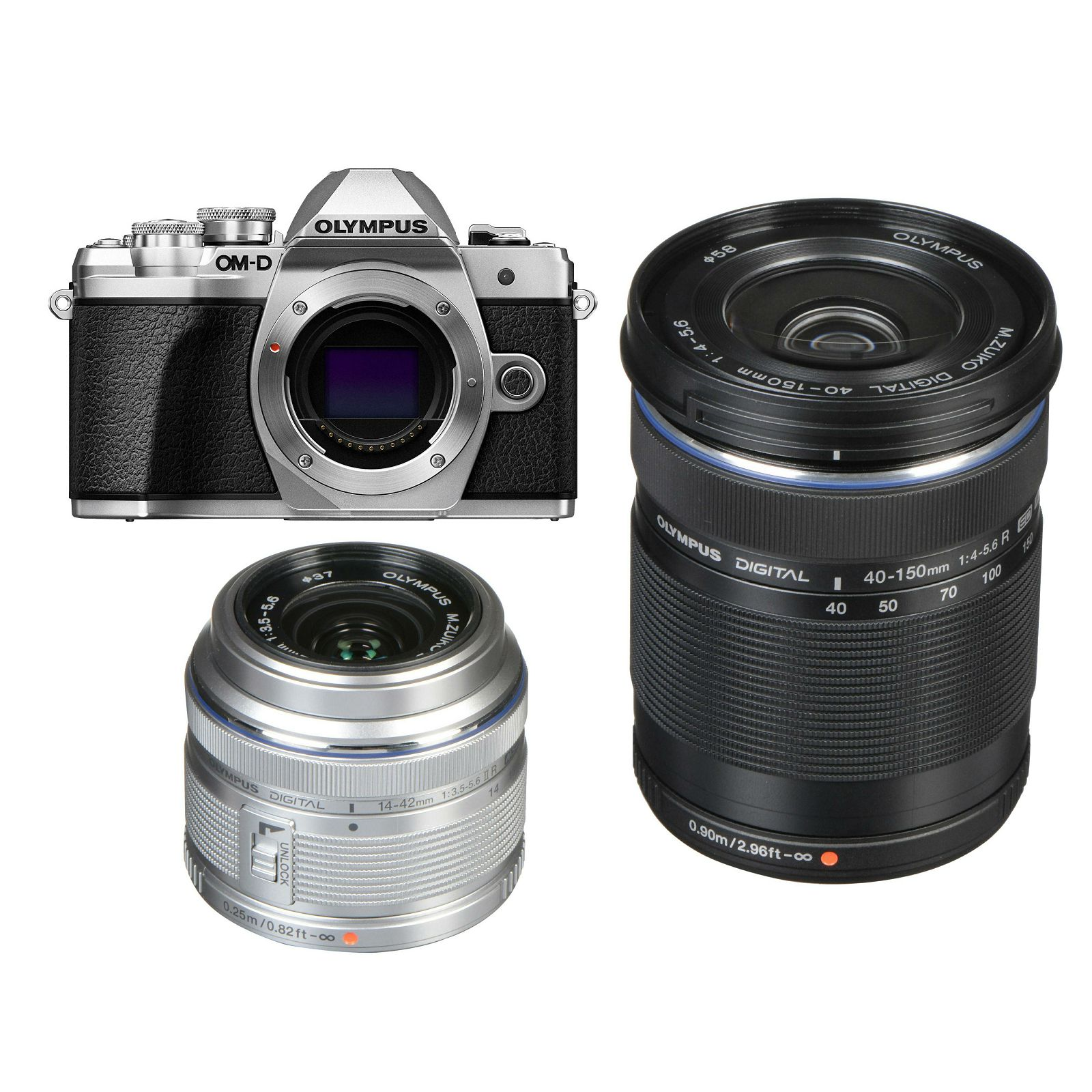 Olympus E-M10 III + 14-42mm + 40-150mm Double Zoom KIT Silver srebreni digitalni fotoaparat s objektivima EZ-M1442 II R i EZ-M4015 R Mirrorless MFT Micro Four Thirds Digital Camera (V207071SE010)