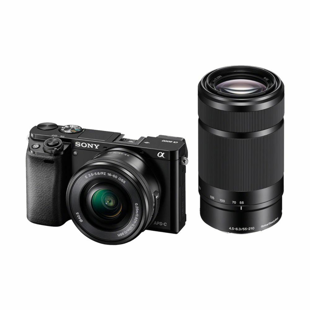 Sony Alpha A6000 + 16-50 f/3.5-5.6 + 55-210 f/4.5-6.3 OSS KIT Mirrorless digitalni fotoaparat s dva zoom objektiva SEL1650 16-50mm SEL55210 55-210mm F4.5-6.3 ILCE-6000YB ILCE6000YB (ILCE6000YB.CEC)